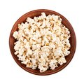 Fresh pop corn in ceramic plate isolated on white background Royalty Free Stock Photo