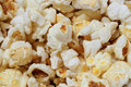 Fresh popped yellow popcorn closeup of freshly with butter Stock Photography