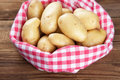 Fresh potatoes in a towel Royalty Free Stock Photo