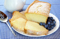 Fresh Pound Cake and Blueberries Royalty Free Stock Images