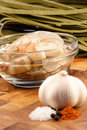 Fresh prawns and ingredients Stock Image