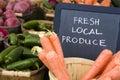 Fresh produce on sale at the local farmers market Stock Photos