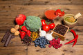 Fresh produce on a wooden table all containing antioxidants Stock Photos