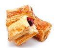 Fresh puff pastries with cherry jam Royalty Free Stock Photo