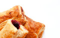 Fresh puff pastries with cherry jam isolated Royalty Free Stock Photo