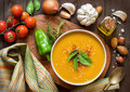 Fresh pumpkin soup with and vegetable Royalty Free Stock Photo