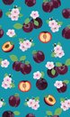 Fresh purple plum seamless pattern with pink cherry blossom on green background