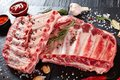 Fresh rack of raw pork spare ribs Royalty Free Stock Photo