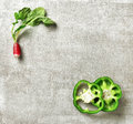 Fresh radish and green paprika slices Royalty Free Stock Photo