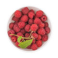 Fresh raspberries in bowl Royalty Free Stock Photo
