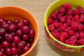 Fresh raspberries and cherries showing arrange on plates Stock Photo