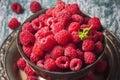 Fresh  raspberries in vintage basket, vitamins, healthy food, ve Royalty Free Stock Photo