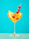 Fresh raspberry coctail on the restaurant table Royalty Free Stock Photo