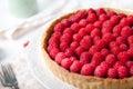 Fresh raspberry and pistachio cream tart Royalty Free Stock Photo