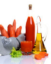 Fresh raw carrot and vegetable juice. Stock Image