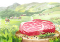 Fresh raw marbled steak with spices on a plate in landscape with cows.