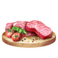 Fresh raw marbled steaks with tomatoes and spices on a plate.