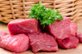 Fresh raw meat on wooden board Royalty Free Stock Images