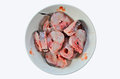 Fresh raw parts of snakehead fish in a plate