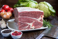 Fresh raw red beef meat big steak chunk on white dish Royalty Free Stock Photo
