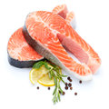 Fresh Raw Salmon Red Fish Steak Royalty Free Stock Photo