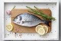 Fresh raw sea bream cooking