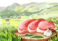Fresh raw steak with spices on a plate in landscape with cows.