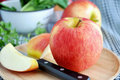 Fresh red apple on tray Royalty Free Stock Photo