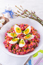 Fresh red beet salad egg Royalty Free Stock Photos