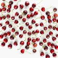 Fresh red cherries lay on white isolated background with copy space. Background of cherries. Ripe cherry on a white background. Ch Royalty Free Stock Photo