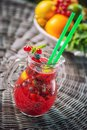 Fresh red lemonade with mint leaf in glass , strawberry, red currant, apple or beetroot fruit drink, product photography for healt Royalty Free Stock Photo
