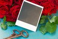 Fresh red roses with instant photos on wooden table blank Stock Photography