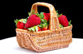 Fresh red strawberries in a basket Royalty Free Stock Photo
