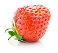 Fresh red strawberry with green leaf isolated Royalty Free Stock Photo