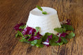 Fresh ricotta with basil leaf on wooden table Royalty Free Stock Photography