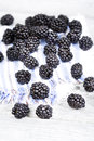 Fresh ripe blackberries on cloth napkin close up Royalty Free Stock Photo