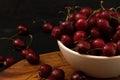 Fresh ripe cherries with water drops closeup dark photo