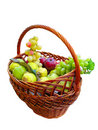 Fresh ripe fruits in a wicker basket isolated Stock Images