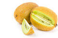 Fresh ripe kiwi with cut on white Royalty Free Stock Images