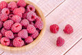 Fresh ripe raspberries in a bowl on a wooden background organic Royalty Free Stock Photo