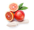 Fresh ripe red oranges and juicer Royalty Free Stock Photo