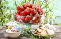 Fresh ripe strawberries in glass bowl Royalty Free Stock Photo