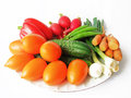 Fresh ripe vegetables on a platter Stock Photo
