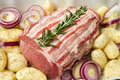 Fresh roast of veal with rosemary and  potatoes Royalty Free Stock Image
