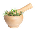 Fresh rosemary herb in wooden mortar with pestle isolated Royalty Free Stock Photo