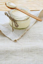 Fresh rustic cream dairy product food closeup Stock Photo