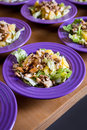 Fresh salad with chicken meat, oranges, walnuts, greens and herbs and olive oil on a bright colorful ceramic plates. Portion of sa