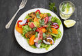 Fresh Salad Meal with Tomatoes,Lettuce,Peppers, Onion and Grille Royalty Free Stock Photo