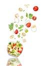 Fresh salad. Mixed falling vegetables Royalty Free Stock Photo