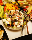 Fresh salad with olives and feta cheese Royalty Free Stock Image